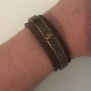 Acne metal and leather cuff bracelet
